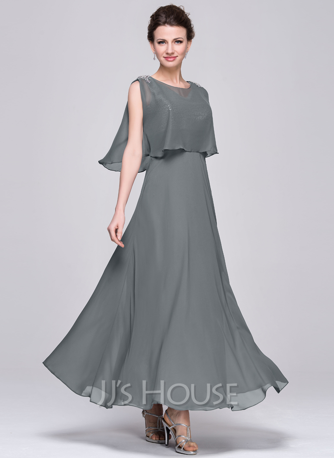 f88a2b7b82d70 A-Line/Princess V-neck Ankle-Length Chiffon Sequined Mother of the Bride  Dress With Ruffle #58400