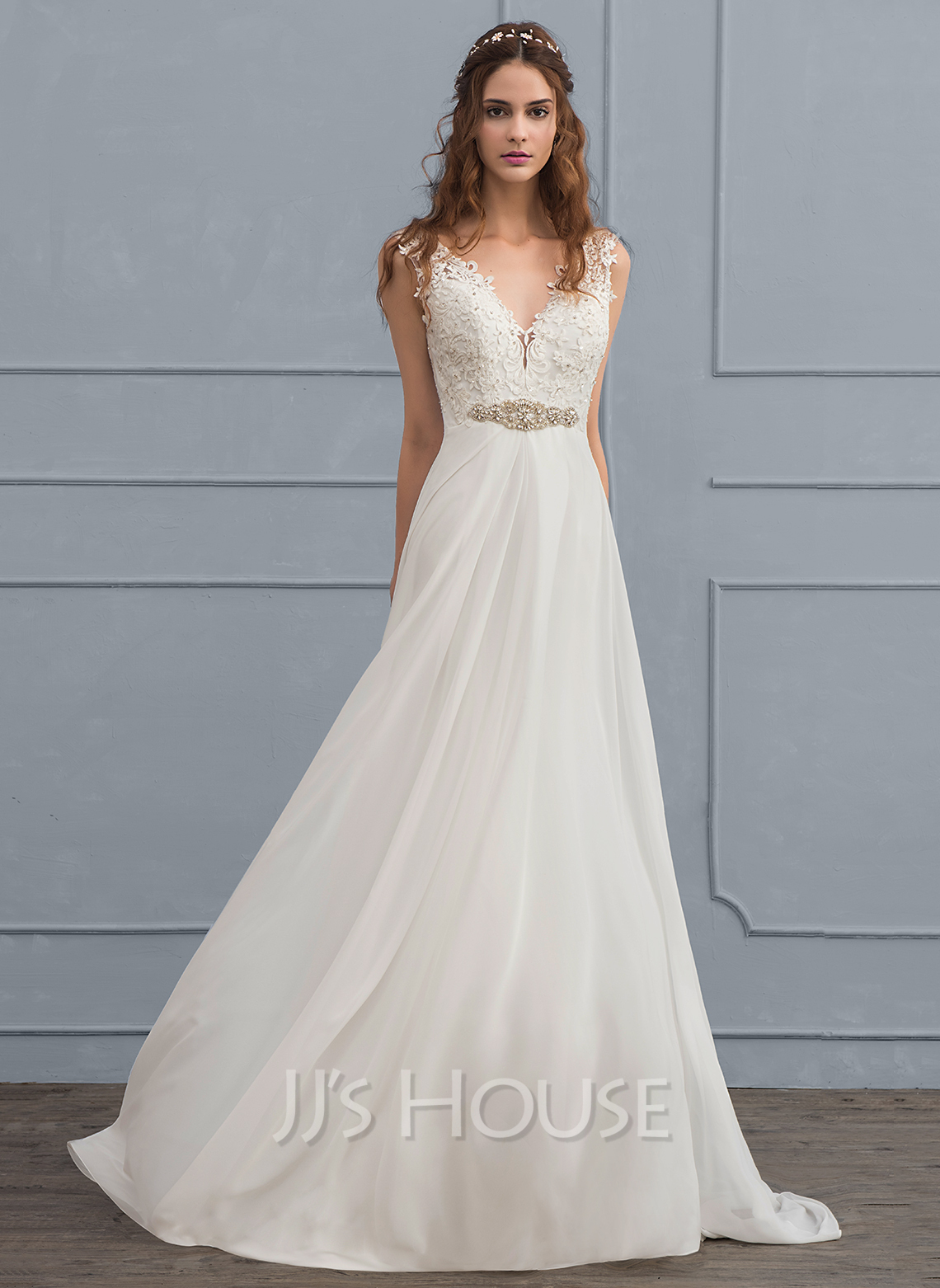 A Line V Neck Court Train Chiffon Wedding Dress With Beading Sequins 002118435 Jj S House