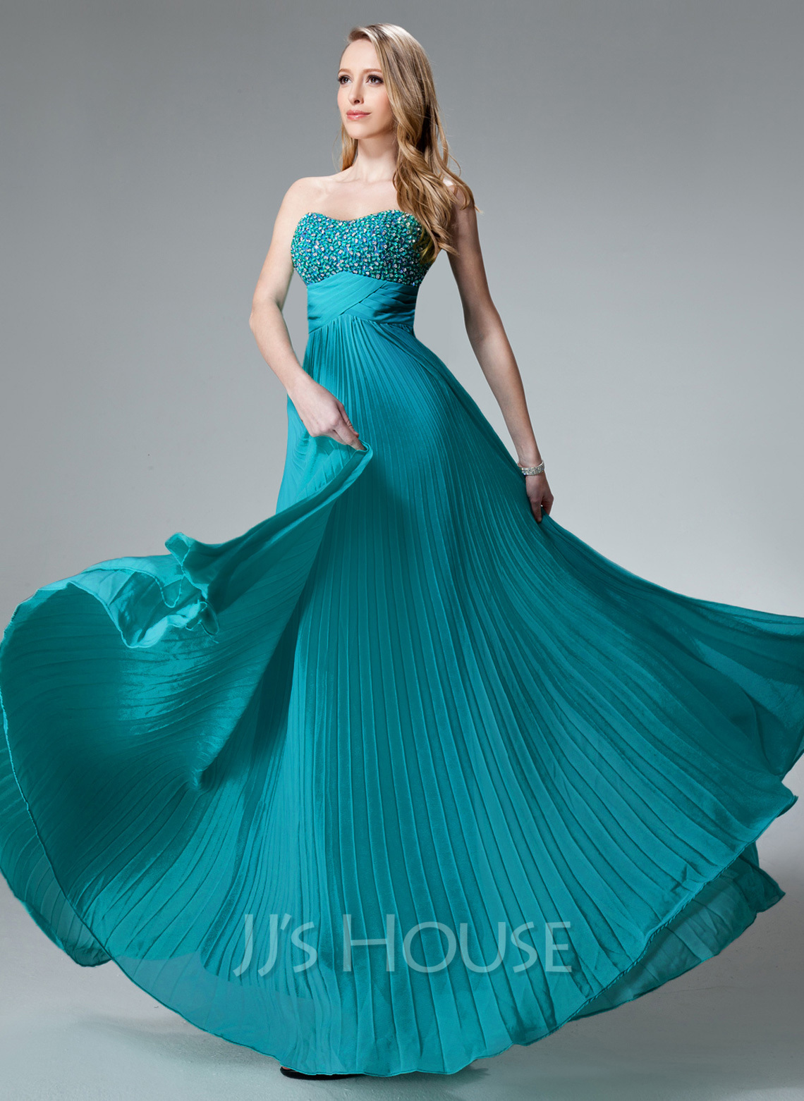 Empire Sweetheart Floor Length Chiffon Holiday Dress With