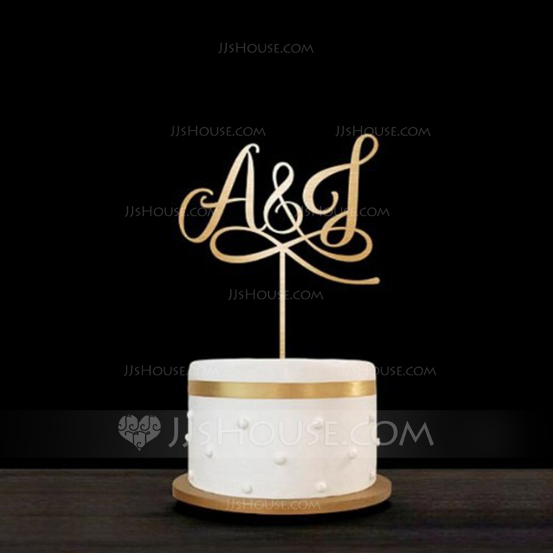 Personalized Bride & Groom's Initials Acrylic/Wood Cake Topper