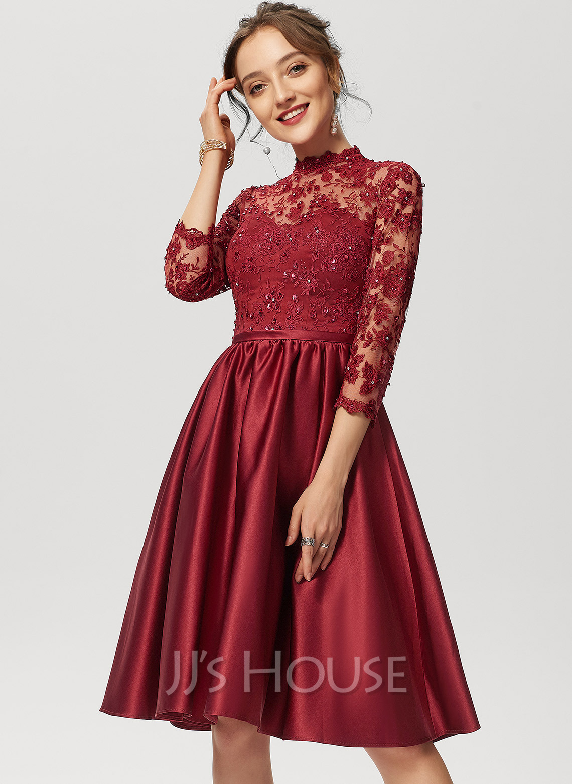 A-Line High Neck Knee-Length Satin Lace Cocktail Dress With Beading Sequins
