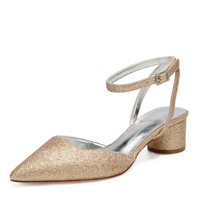 Women's Sparkling Glitter Chunky Heel Closed Toe Sandals With Rhinestone Sequin Sparkling Glitter