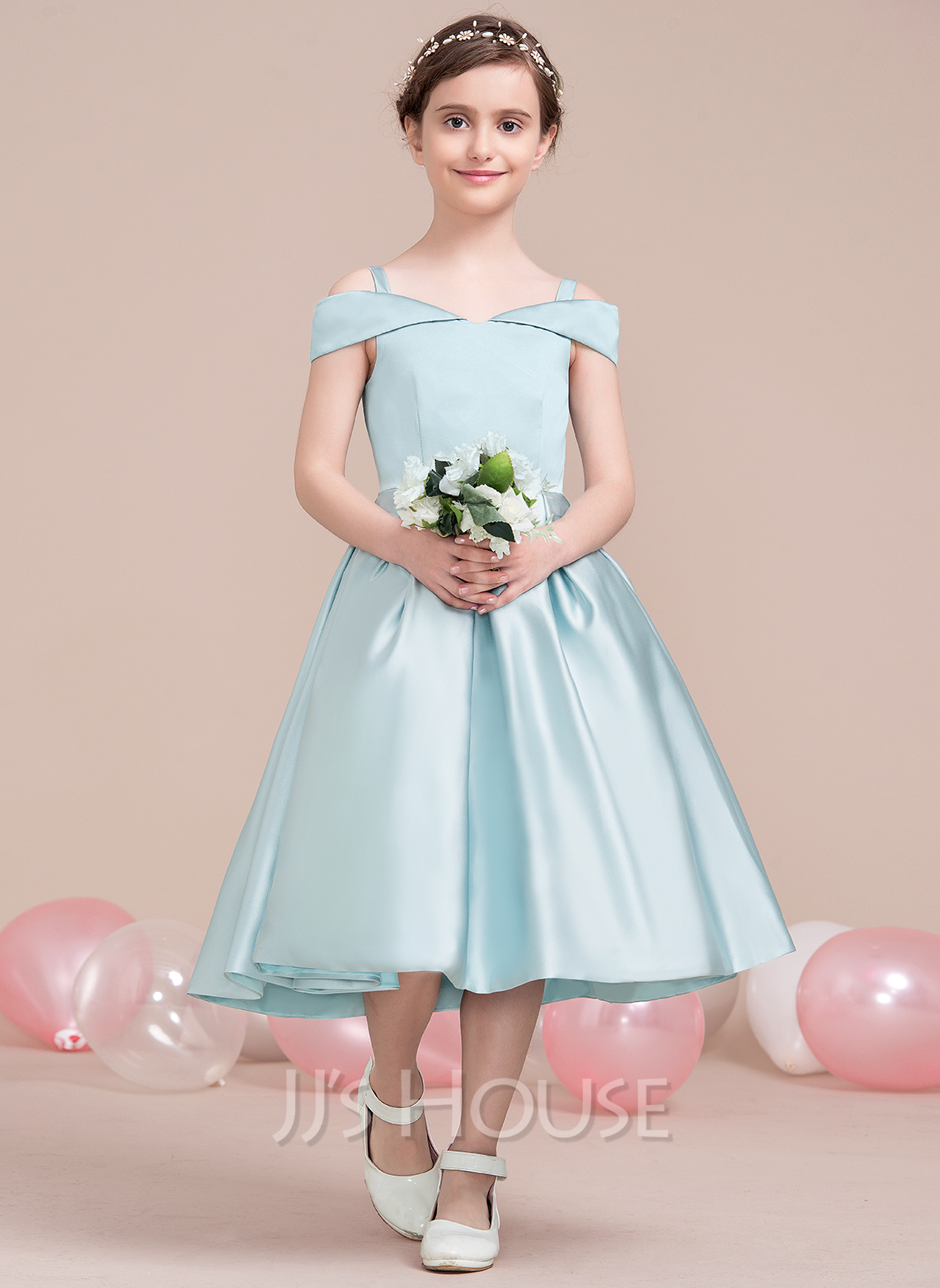 a144052855 Off-the-Shoulder Tea-Length Satin Junior Bridesmaid Dress (268193428)
