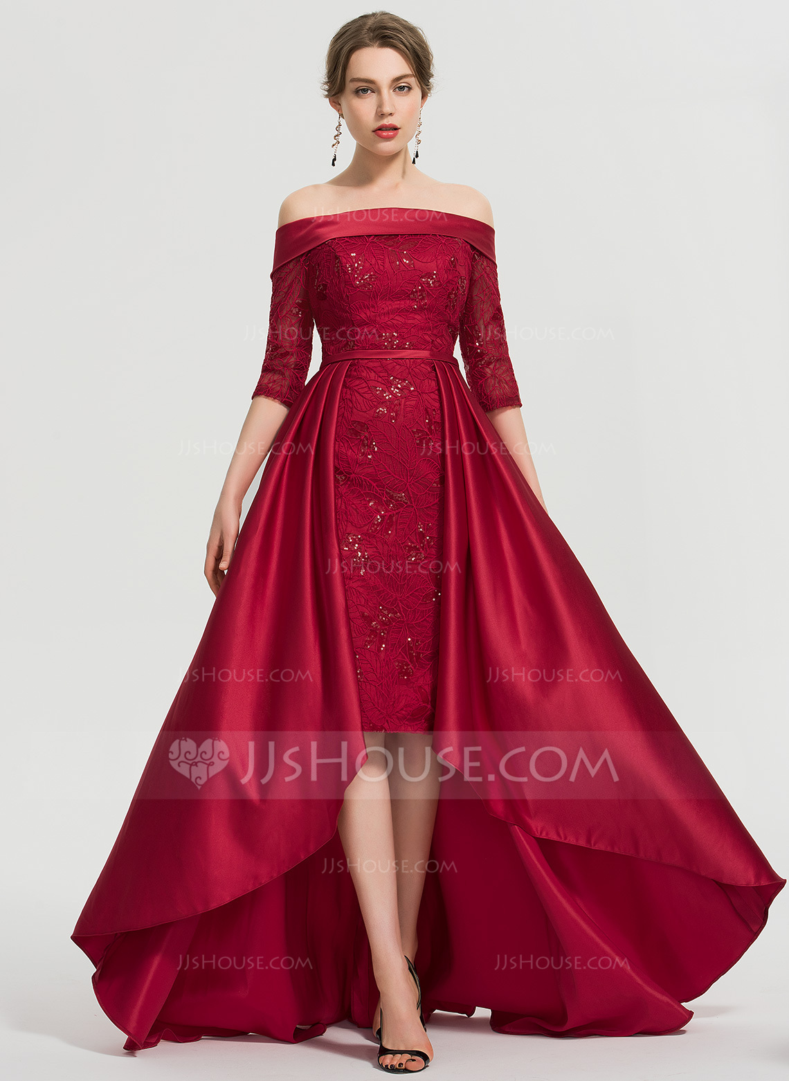 5ce2cb2e33a A-Line Off-the-Shoulder Asymmetrical Satin Prom Dresses With Sequins.  Loading zoom