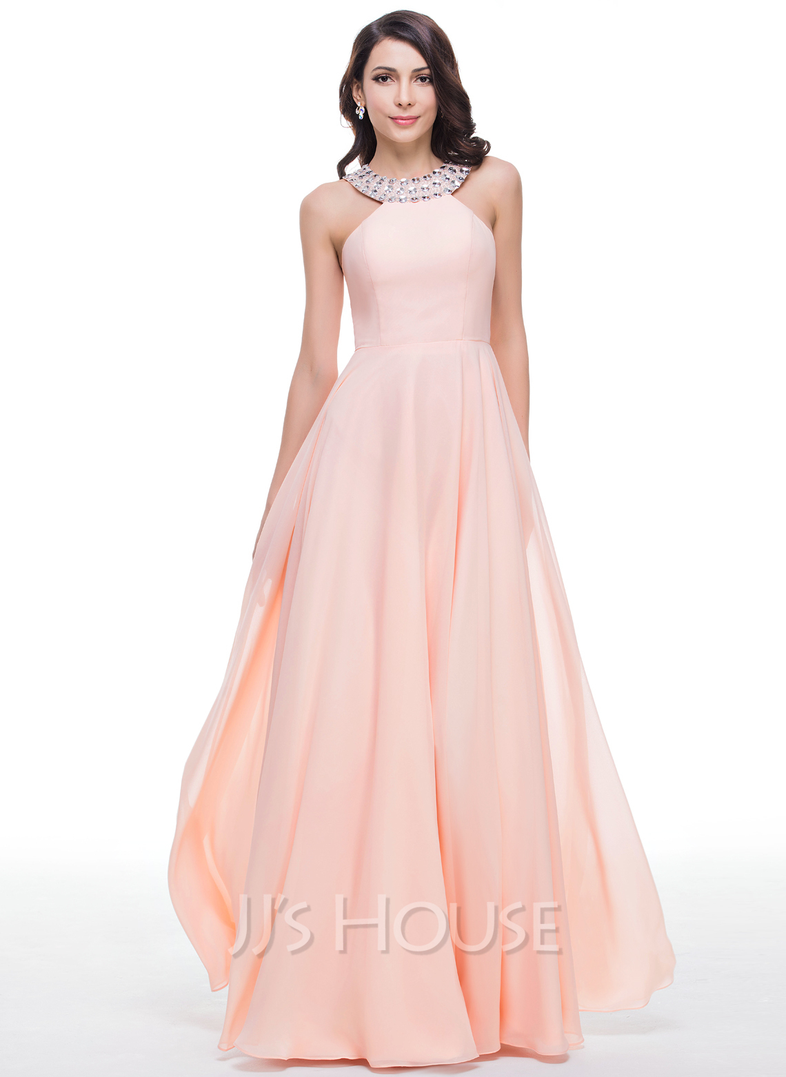 A-Line/Princess Scoop Neck Floor-Length Chiffon Prom Dresses With ...