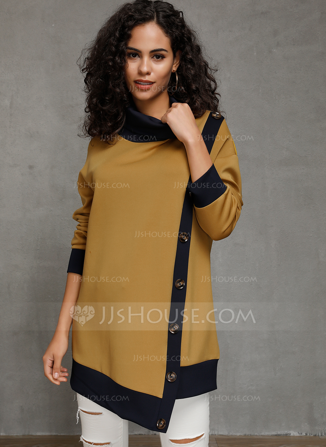 Long Sleeves Cotton High Neck Knit Blouses