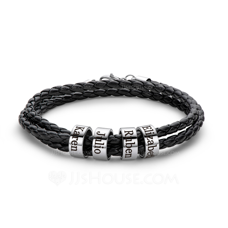 Custom Platinum Plated Men Braided Leather Bracelets With Custom Beads In Silver - Gifts For Men