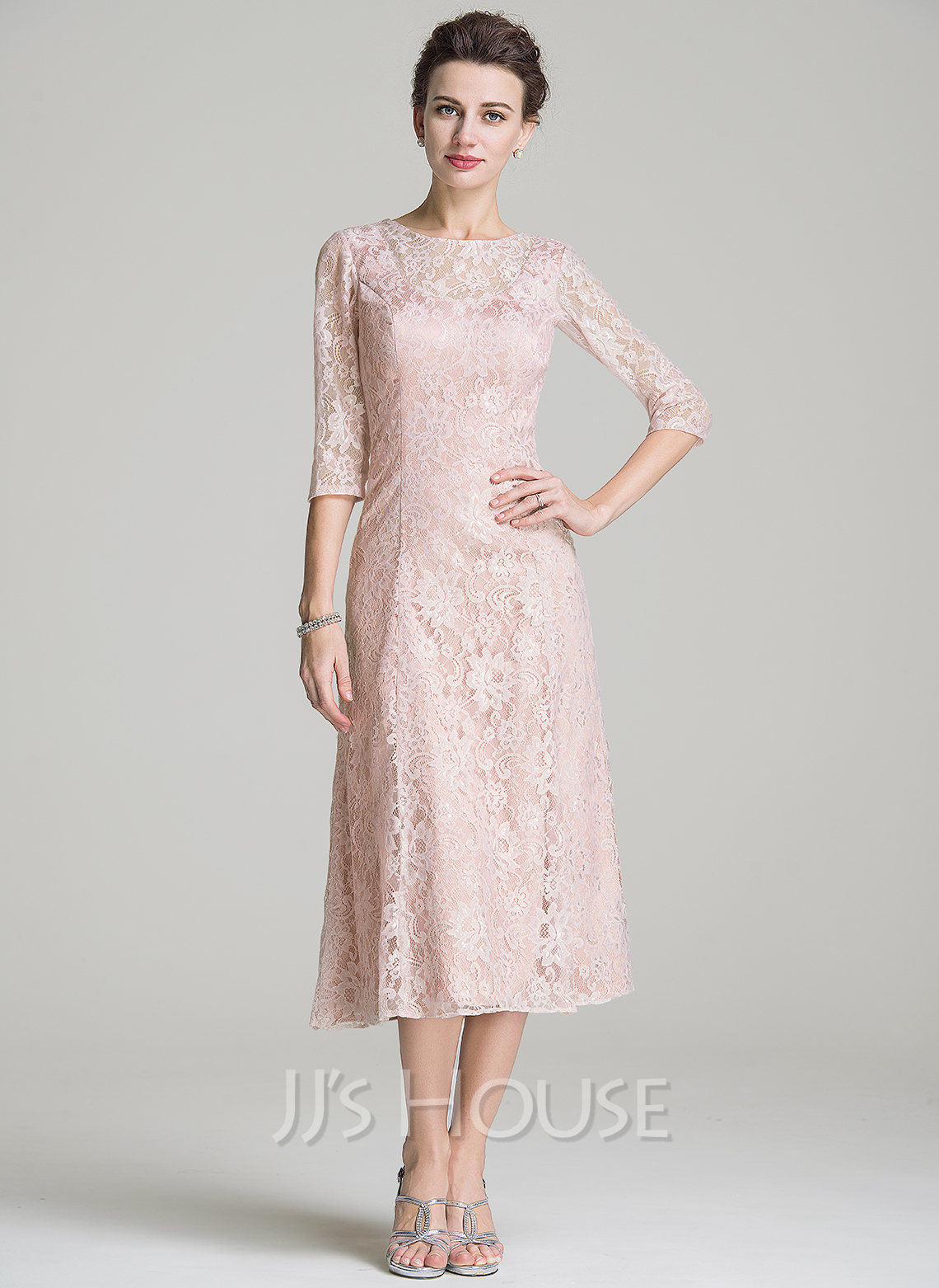 c0b85a8c2e62 A-Line/Princess Scoop Neck Tea-Length Lace Mother of the Bride Dress.  Loading zoom