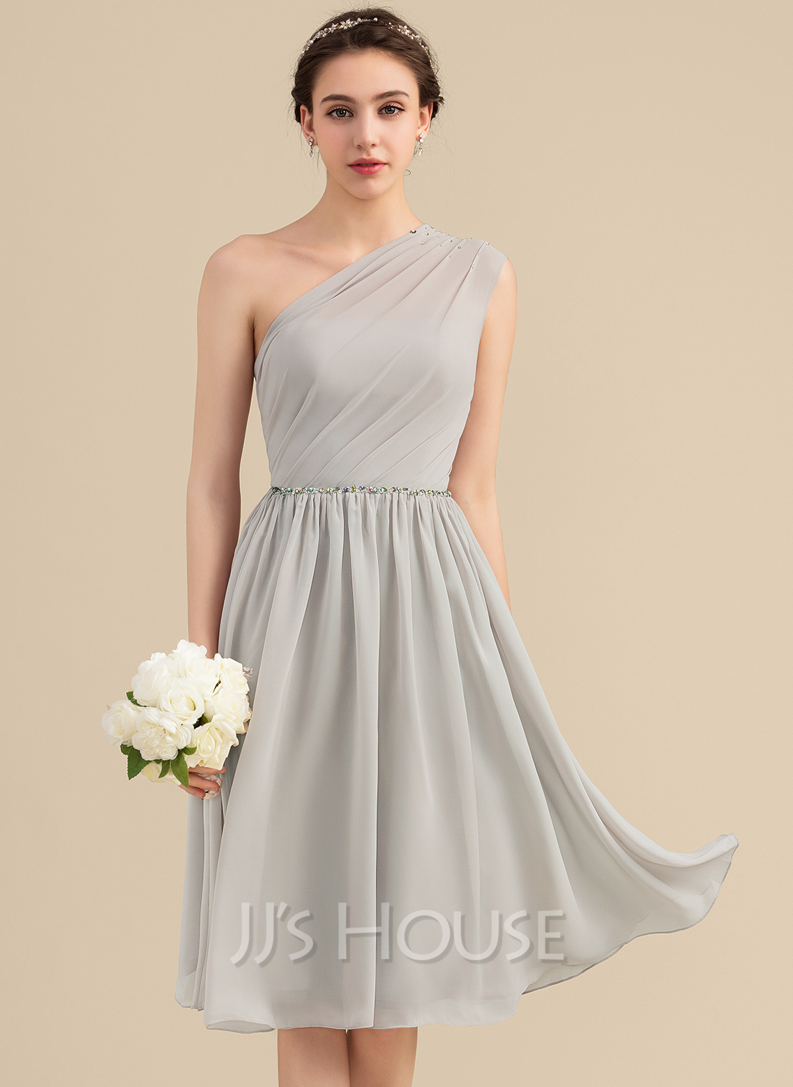 One-Shoulder Knee-Length Chiffon Bridesmaid Dress With Beading