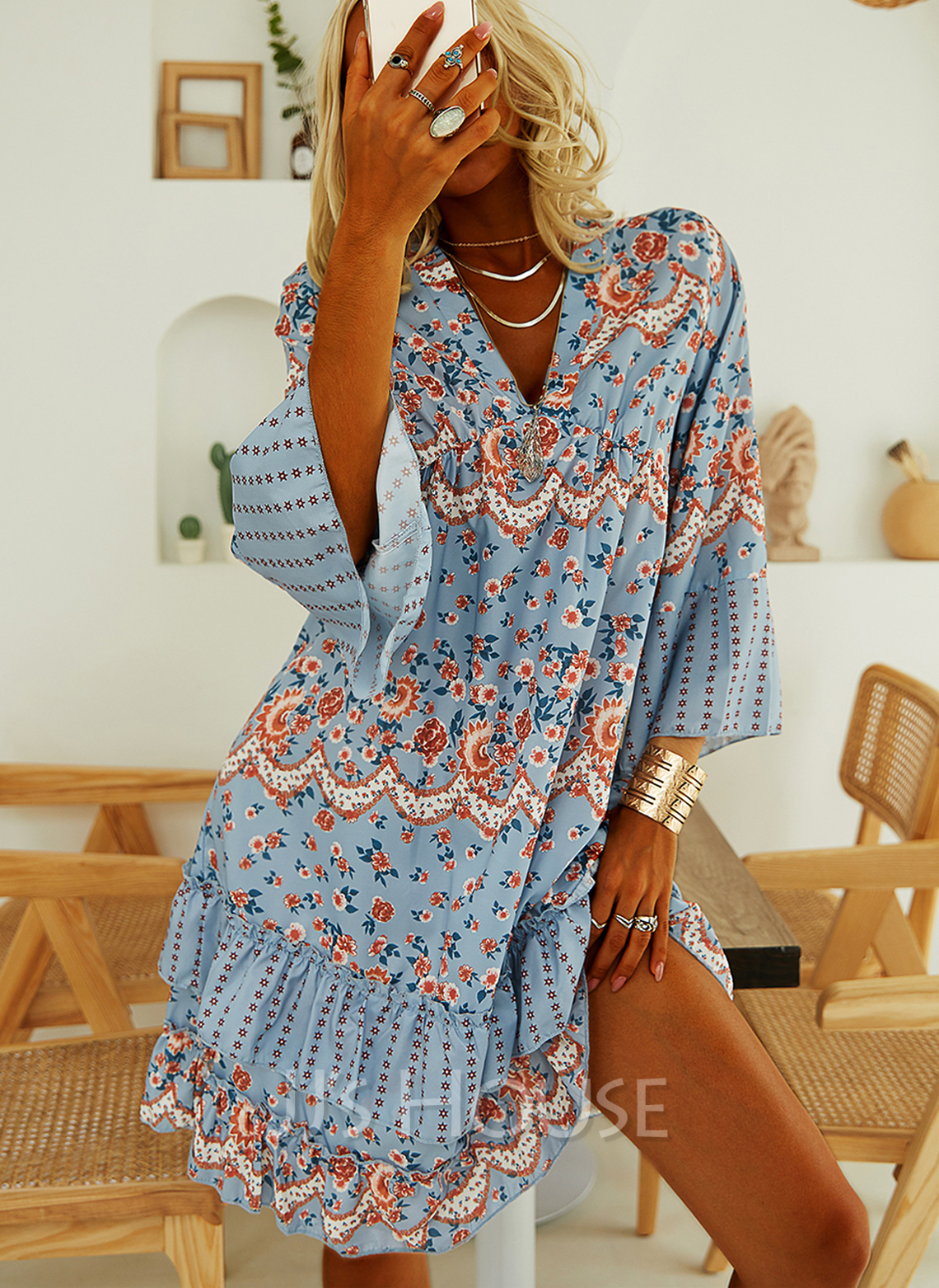 Floral Print Shift V-Neck Long Sleeves Flare Sleeve Midi Casual Tunic Dresses