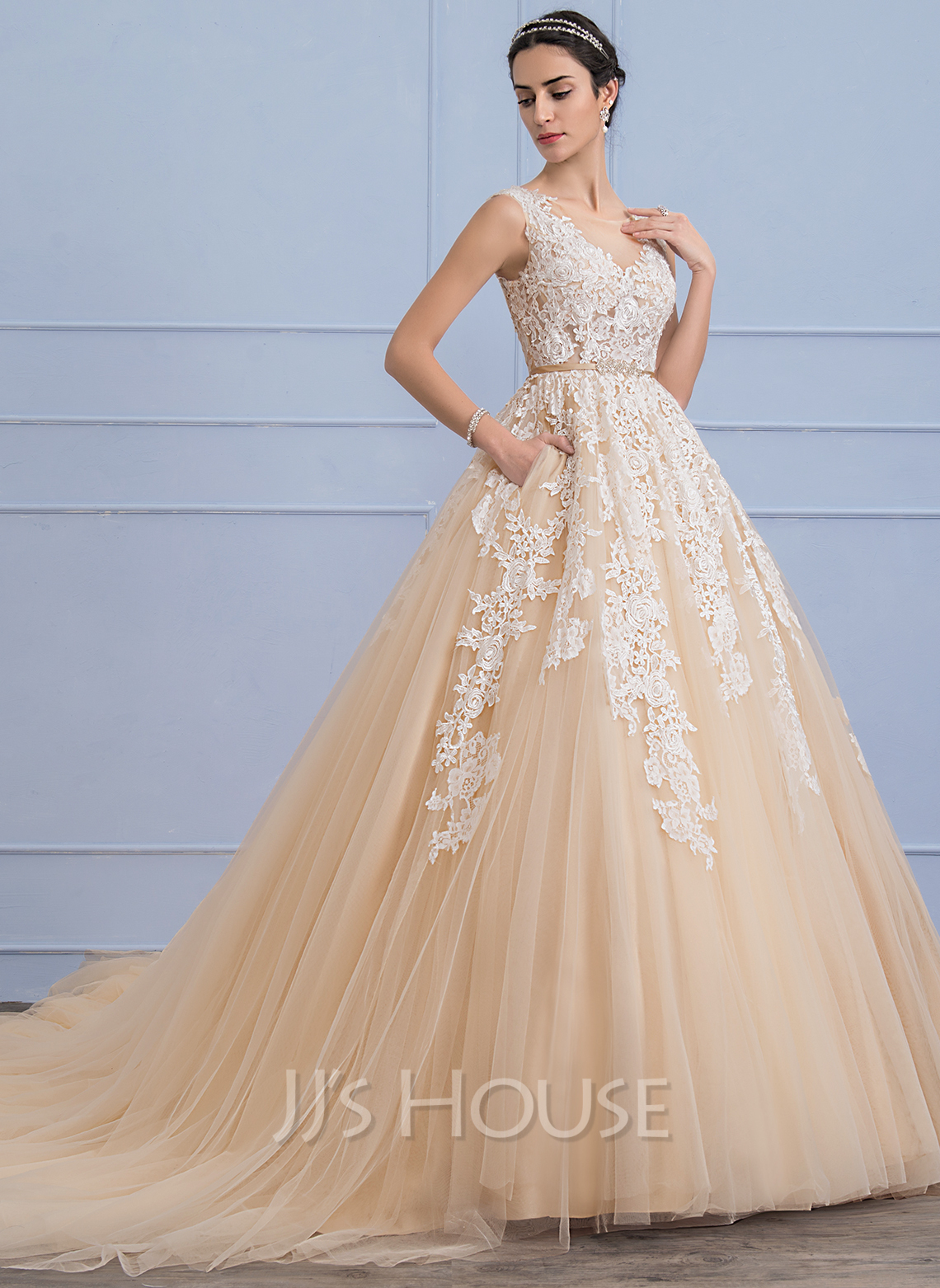 Ball-Gown Scoop Neck Cathedral Train Tulle Lace Wedding Dress With ...