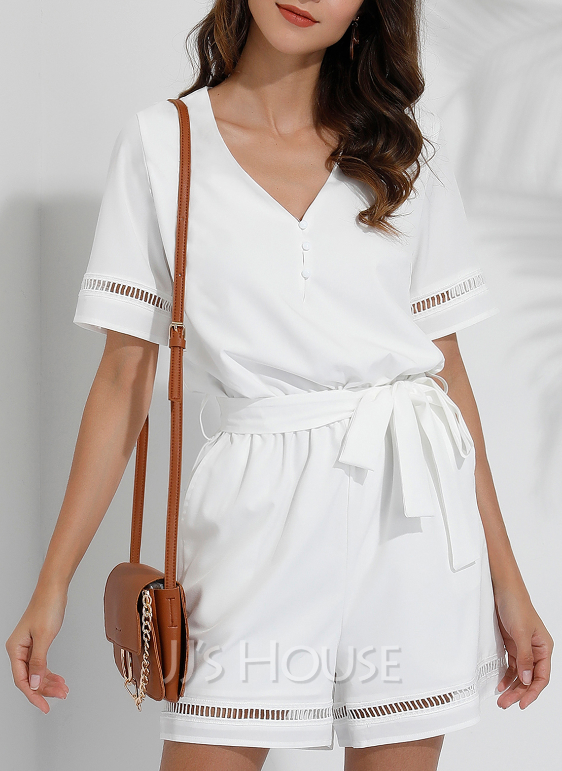 Solid A-line V-Neck Short Sleeves Casual Rompers Dresses