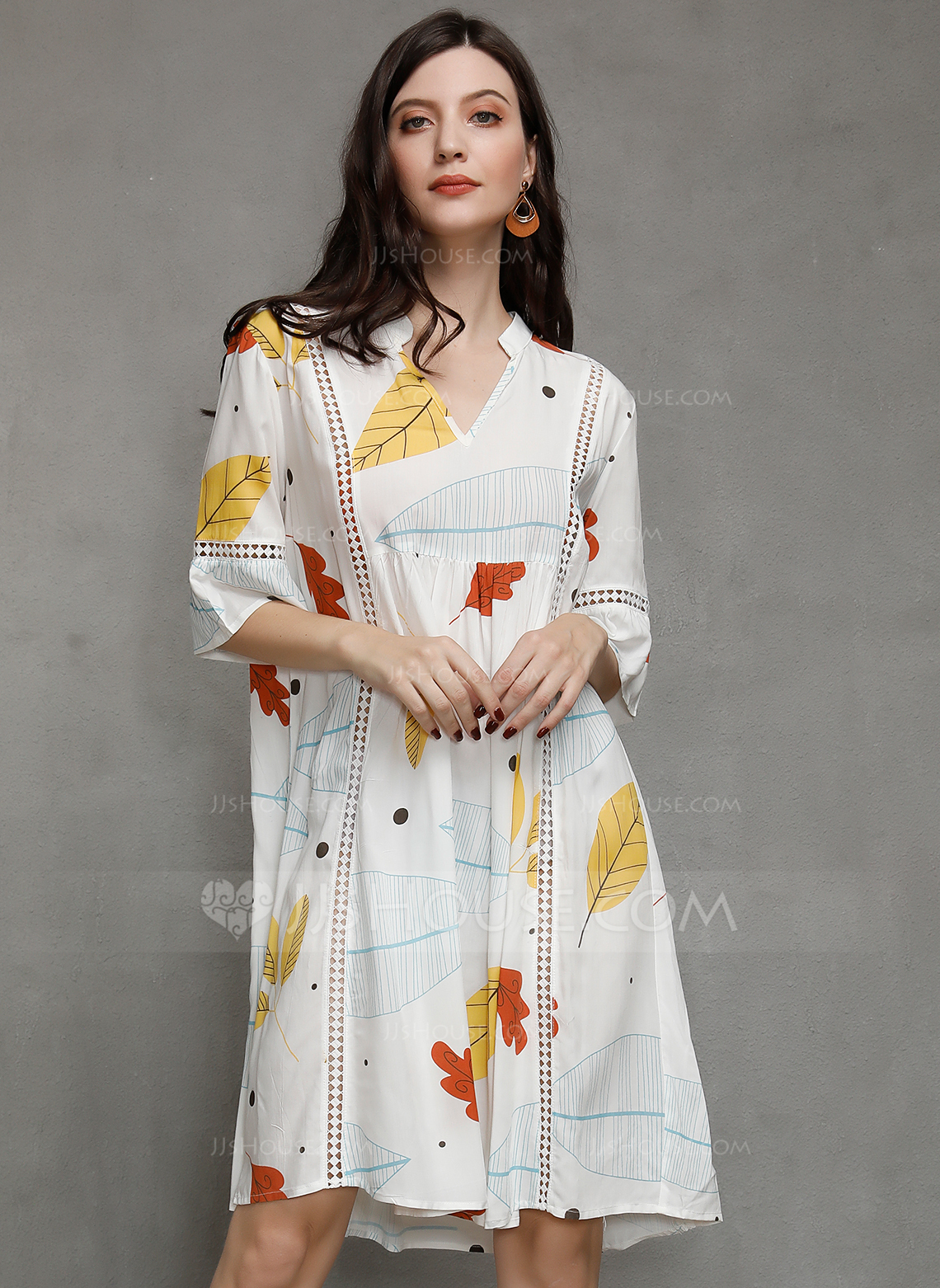 Polyester With Print/Hollow Knee Length Dress