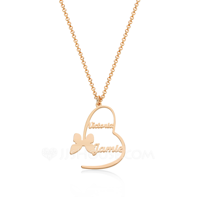 Custom 18k Rose Gold Plated Heart Letter Name Necklace Heart Necklace With Butterfly - Birthday Gifts