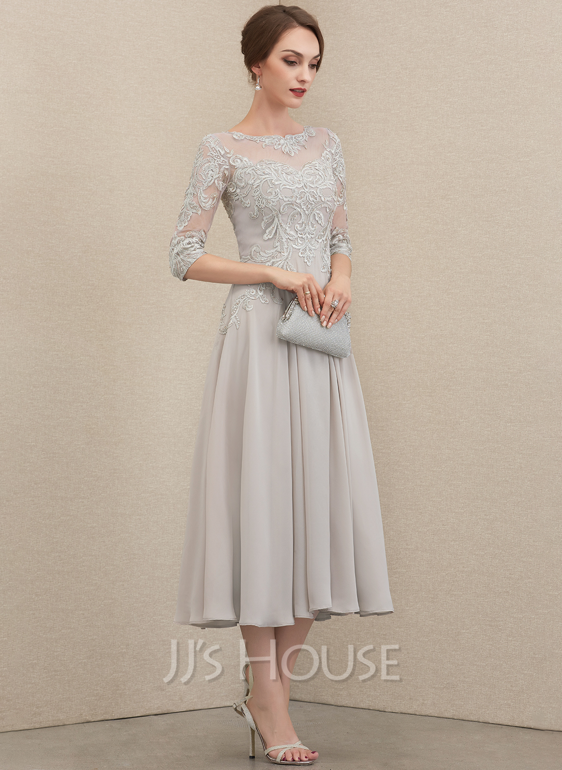 A-Line Scoop Neck Tea-Length Chiffon Lace Evening Dress With Beading Sequins