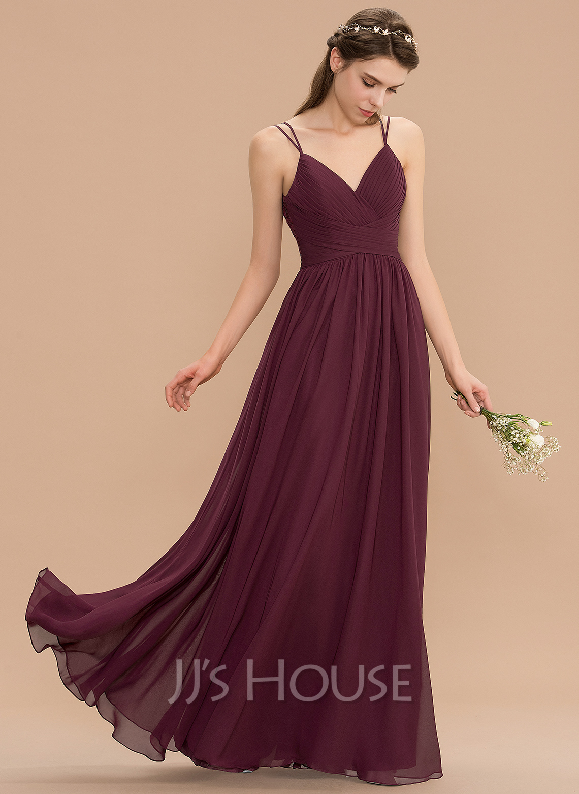 V-neck Floor-Length Chiffon Lace Bridesmaid Dress