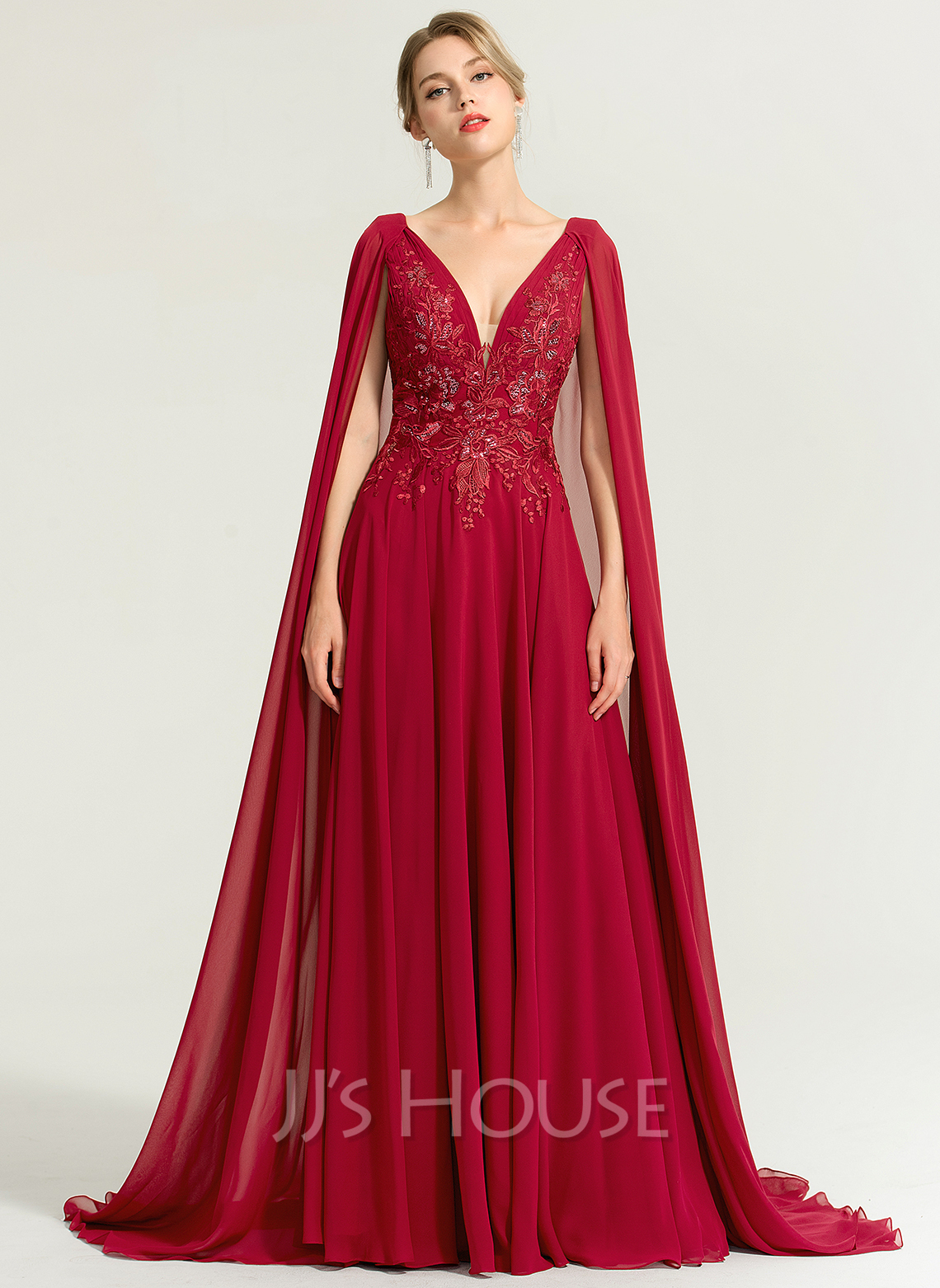 A-Line V-neck Floor-Length Chiffon Wedding Dress With Sequins
