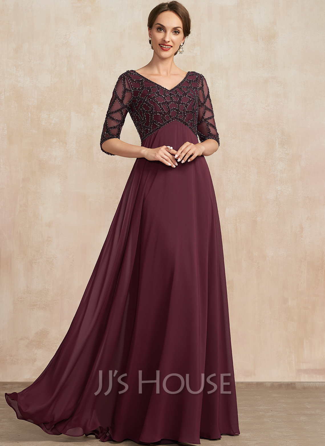 Empire V-neck Floor-Length Chiffon Mother of the Bride Dress With Beading