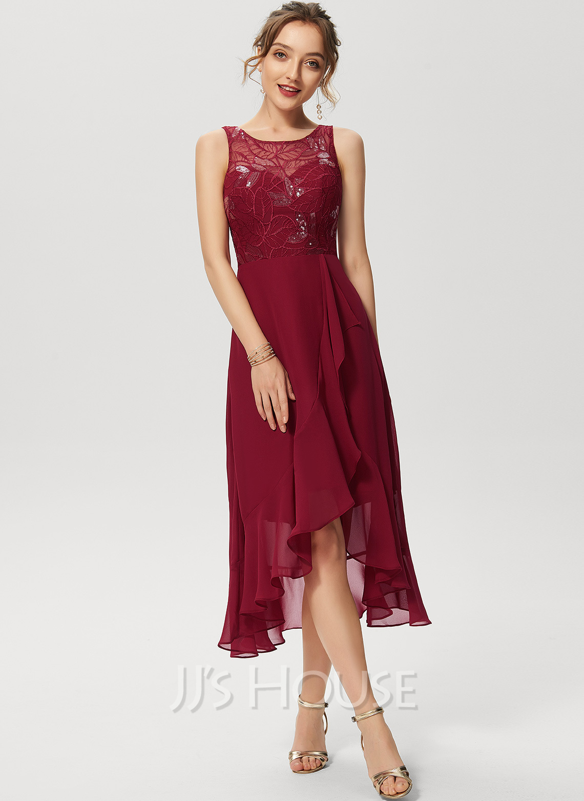 A-Line Scoop Neck Asymmetrical Chiffon Lace Cocktail Dress With Sequins Cascading Ruffles