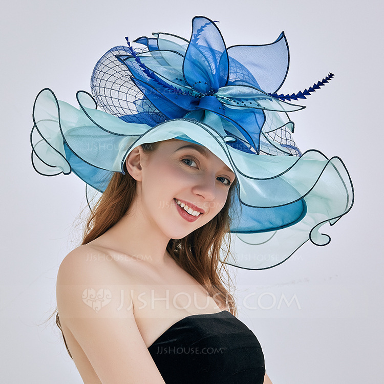 Ladies' Glamourous/Eye-catching/Pretty Organza With Flower Floppy Hats/Beach/Sun Hats/Kentucky Derby Hats