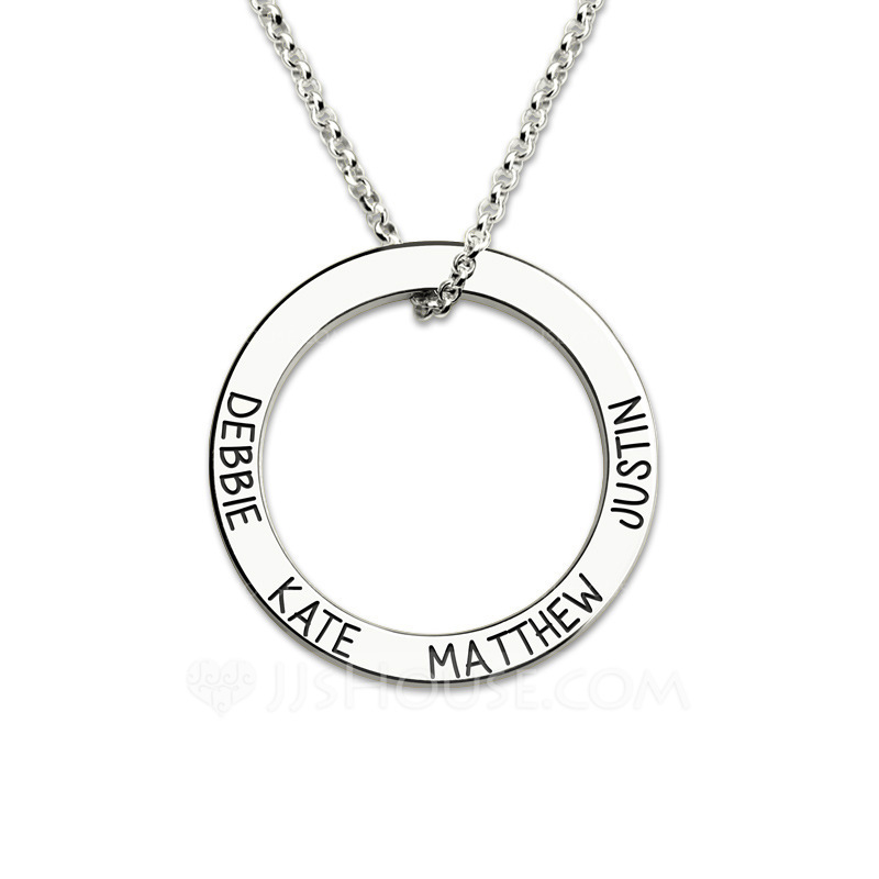 Personalized Couples' Hottest 925 Sterling Silver With Round Engraved Necklaces Necklaces For Bridesmaid/For Friends/For Couple