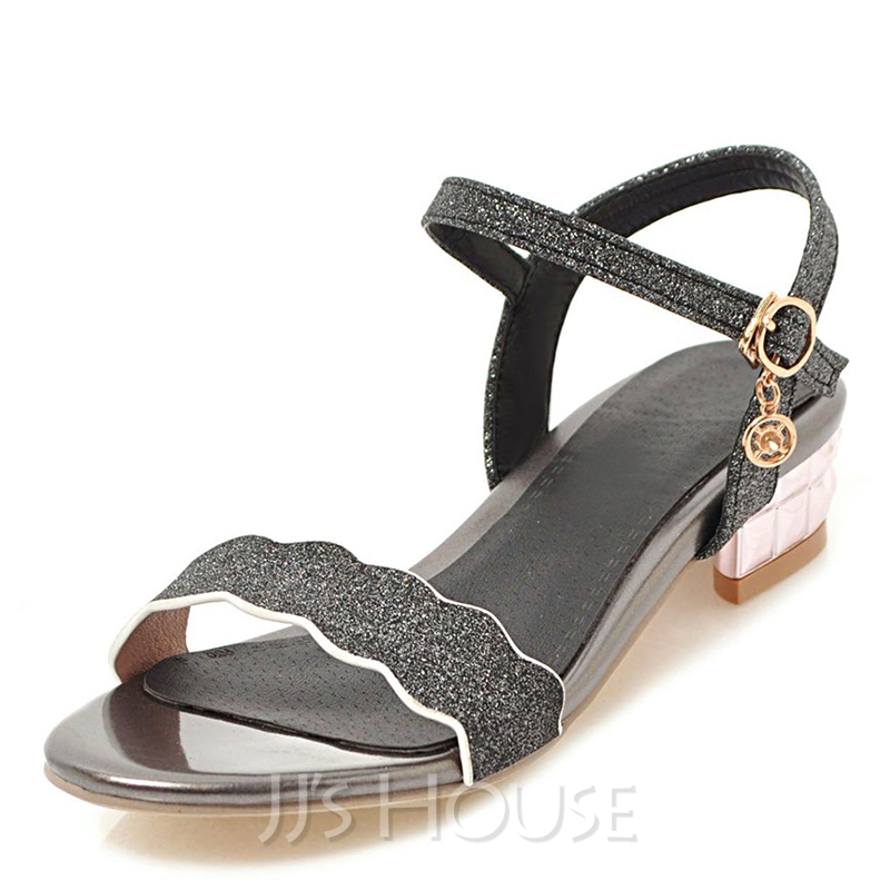 Women's Sparkling Glitter Low Heel Sandals Peep Toe With Buckle shoes