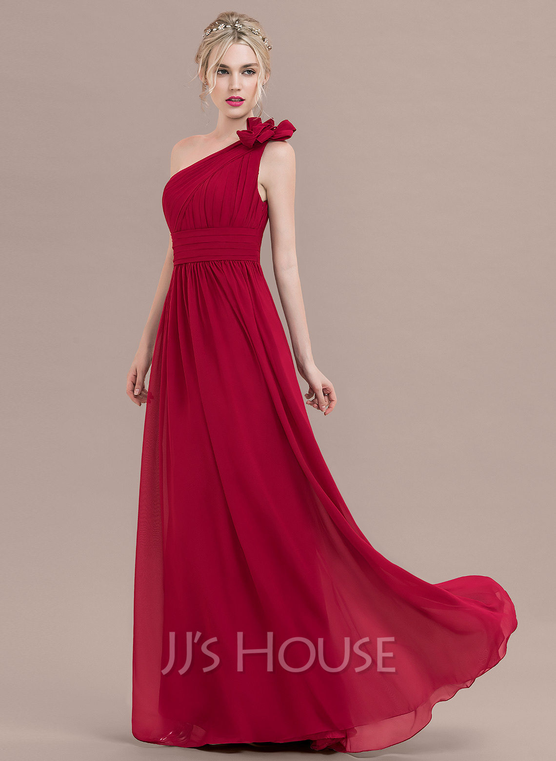 A line princess one shoulder floor length chiffon for Mid length wedding dress