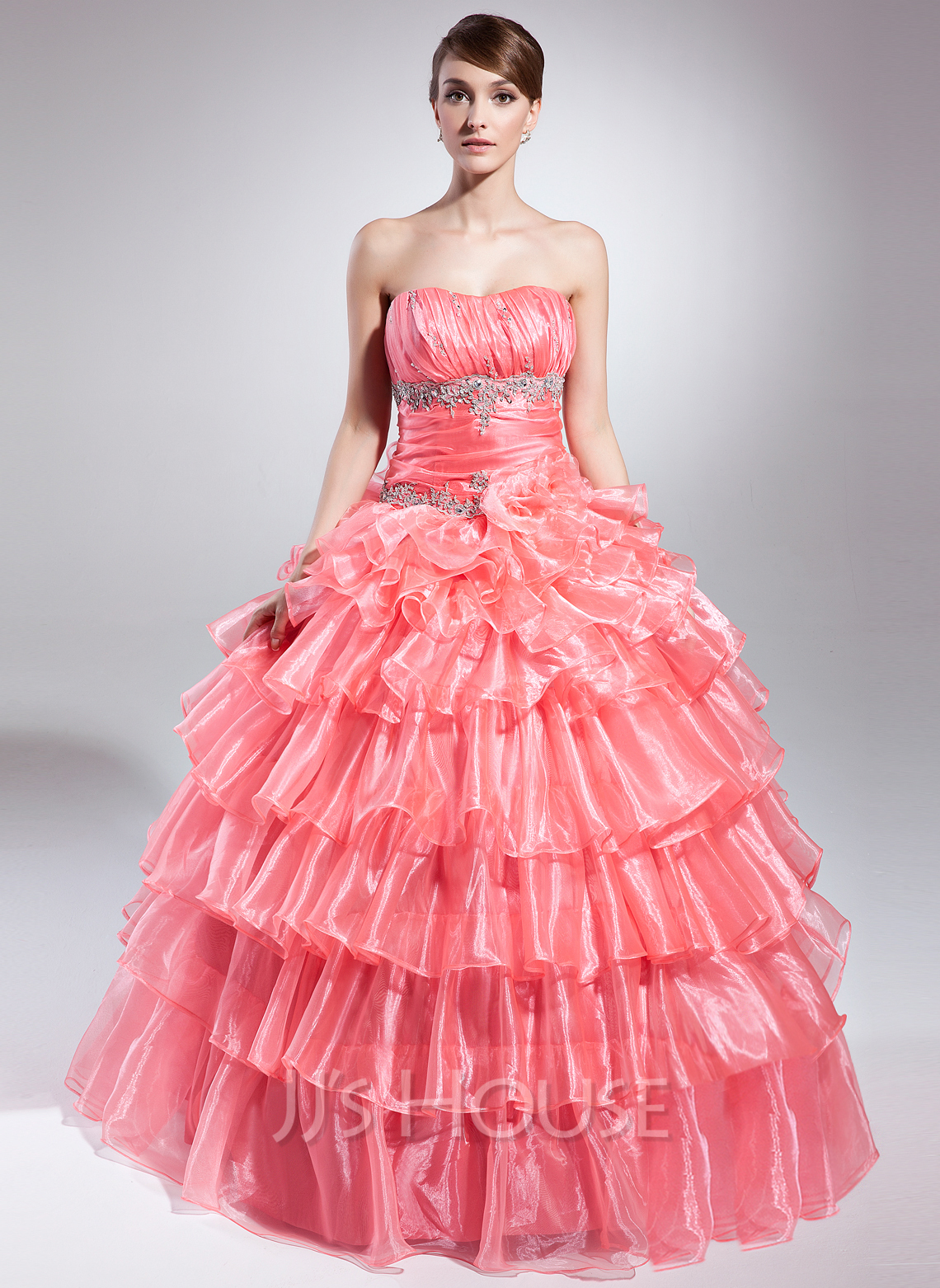 0b55099203 Ball-Gown Strapless Floor-Length Organza Quinceanera Dress With Beading  Appliques Lace Sequins Cascading. Loading zoom