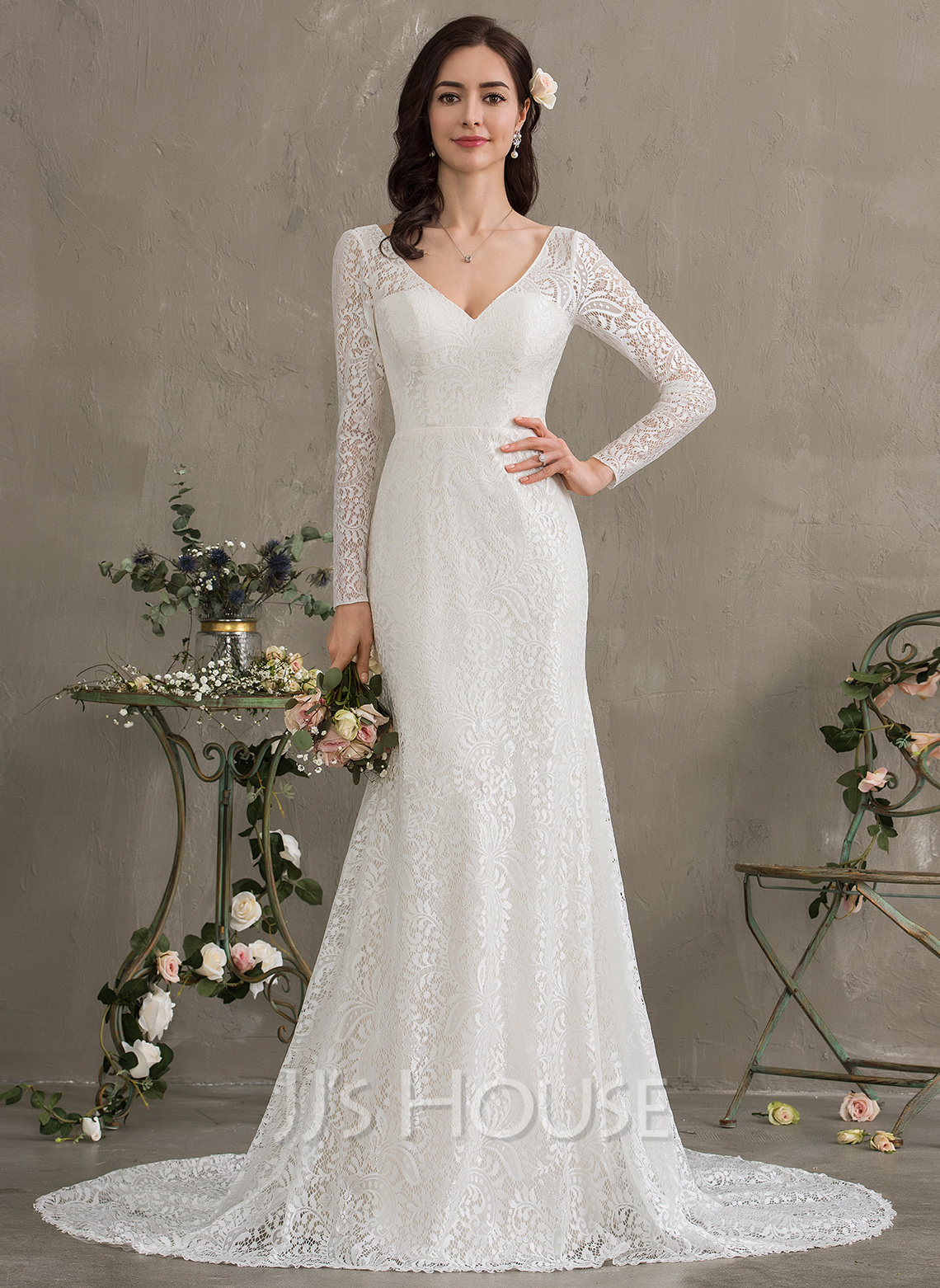 765dc8142066 Trumpet/Mermaid V-neck Court Train Lace Wedding Dress (002186368 ...