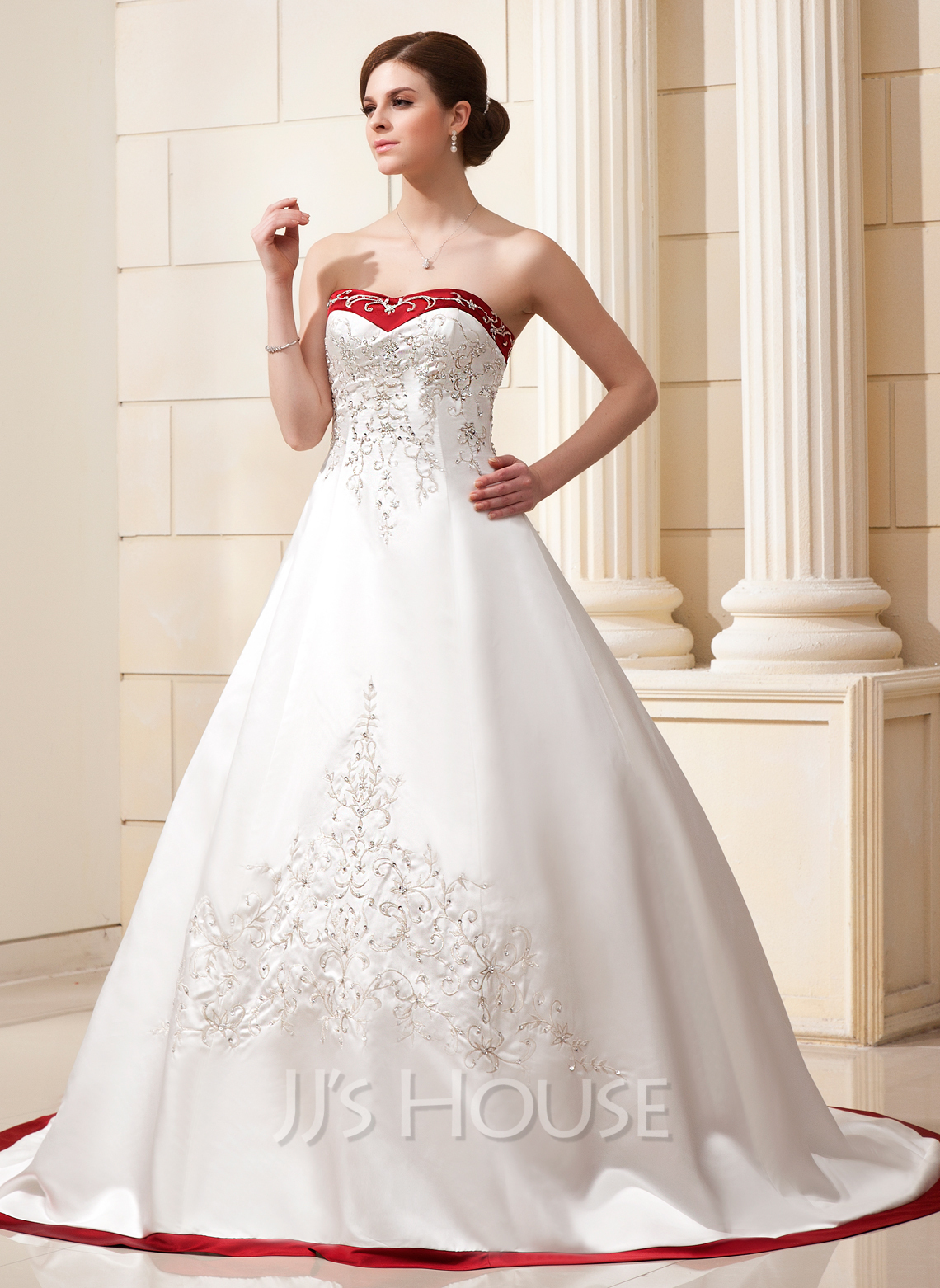 Ball-Gown Sweetheart Chapel Train Satin Wedding Dress With ...