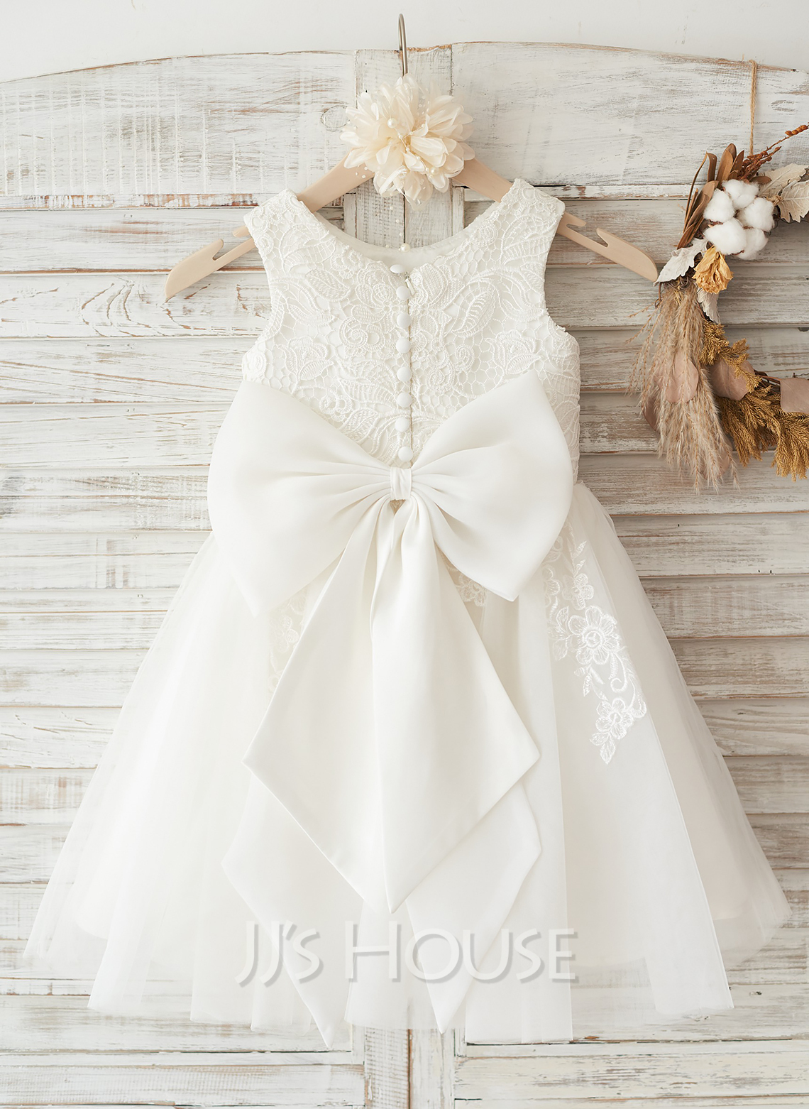 A-Line/Princess Knee-length Flower Girl Dress - Tulle/Lace ...