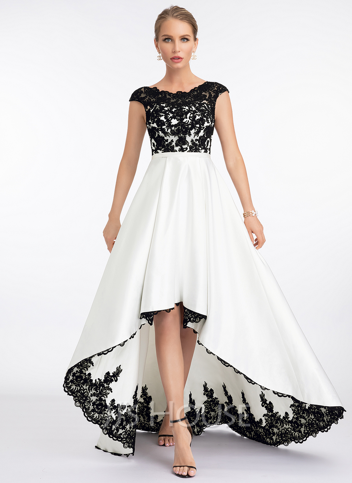Corte A Escote redondo Asimétrico Satén Vestido de novia
