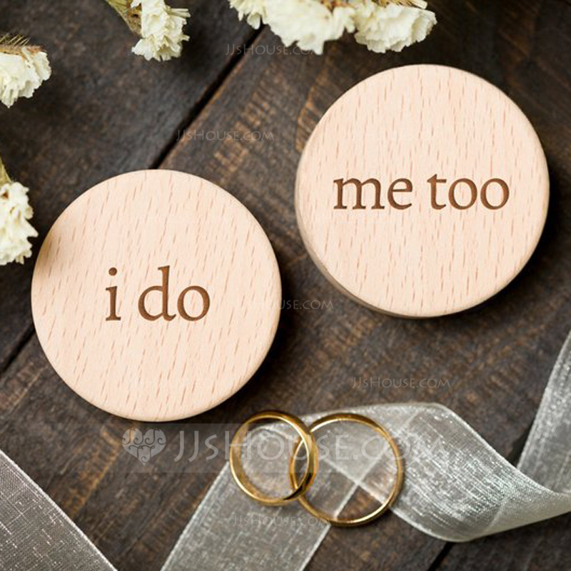 """I do"" Wood Ring Box (Set of 2)"