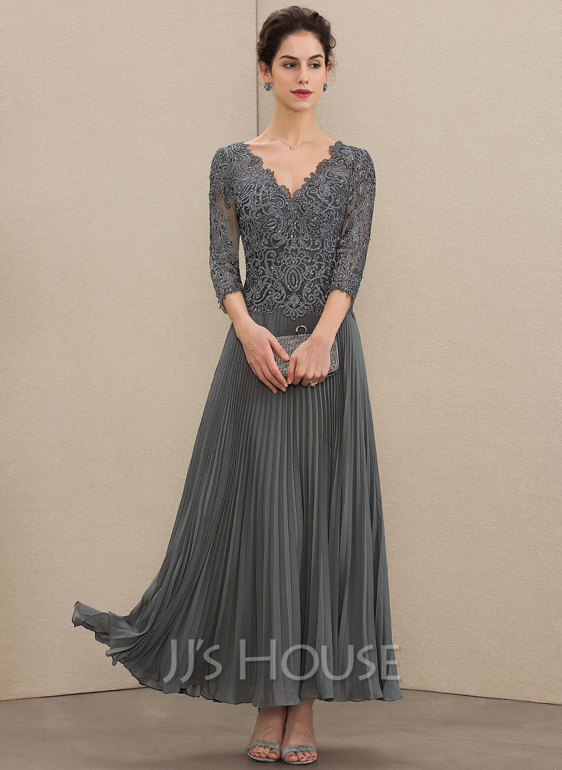 1170d9c87 A-Line V-neck Ankle-Length Chiffon Lace Mother of the Bride Dress. Loading  zoom