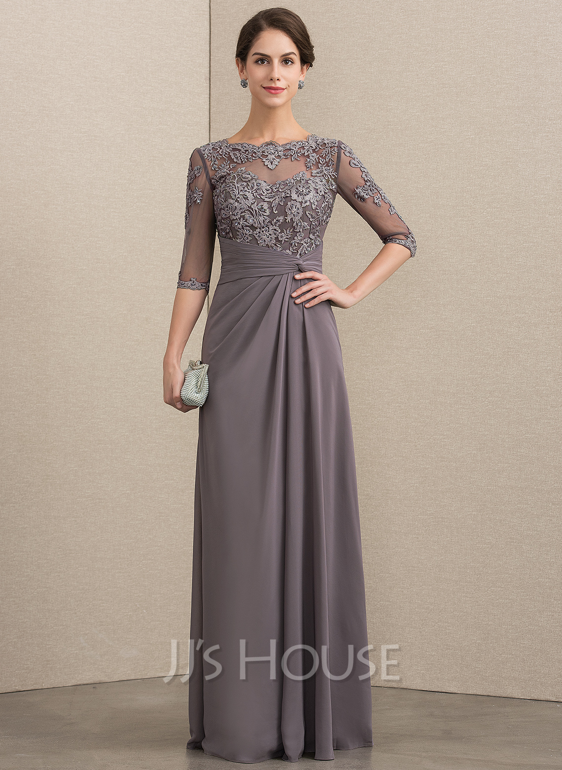 80942dee09840 A-Line/Princess Scoop Neck Floor-Length Chiffon Lace Mother of the Bride.  Loading zoom