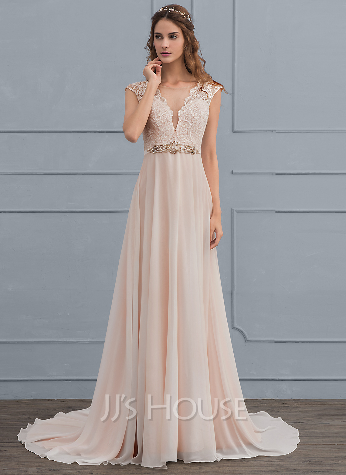 A-Line Scoop Neck Sweep Train Chiffon Wedding Dress With Beading Bow(s)
