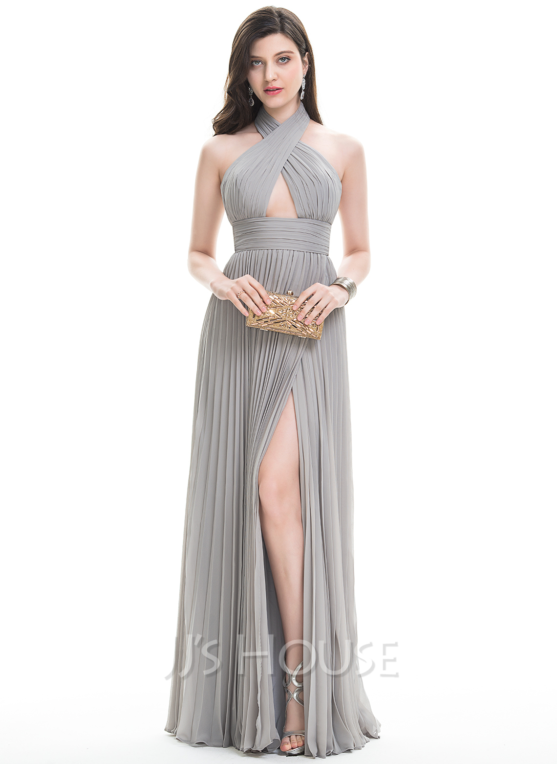 Halter Floor-Length Chiffon Prom Dresses With Split Front Pleated