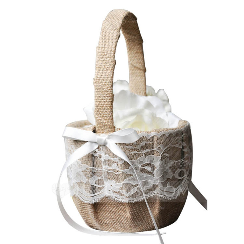 Elegant Flower Basket in Lace With Bow