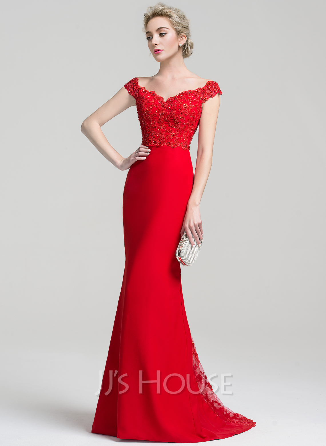 98a95cd5a0d Trumpet Mermaid Off-the-Shoulder Sweep Train Chiffon Lace Evening Dress  With Beading. Loading zoom