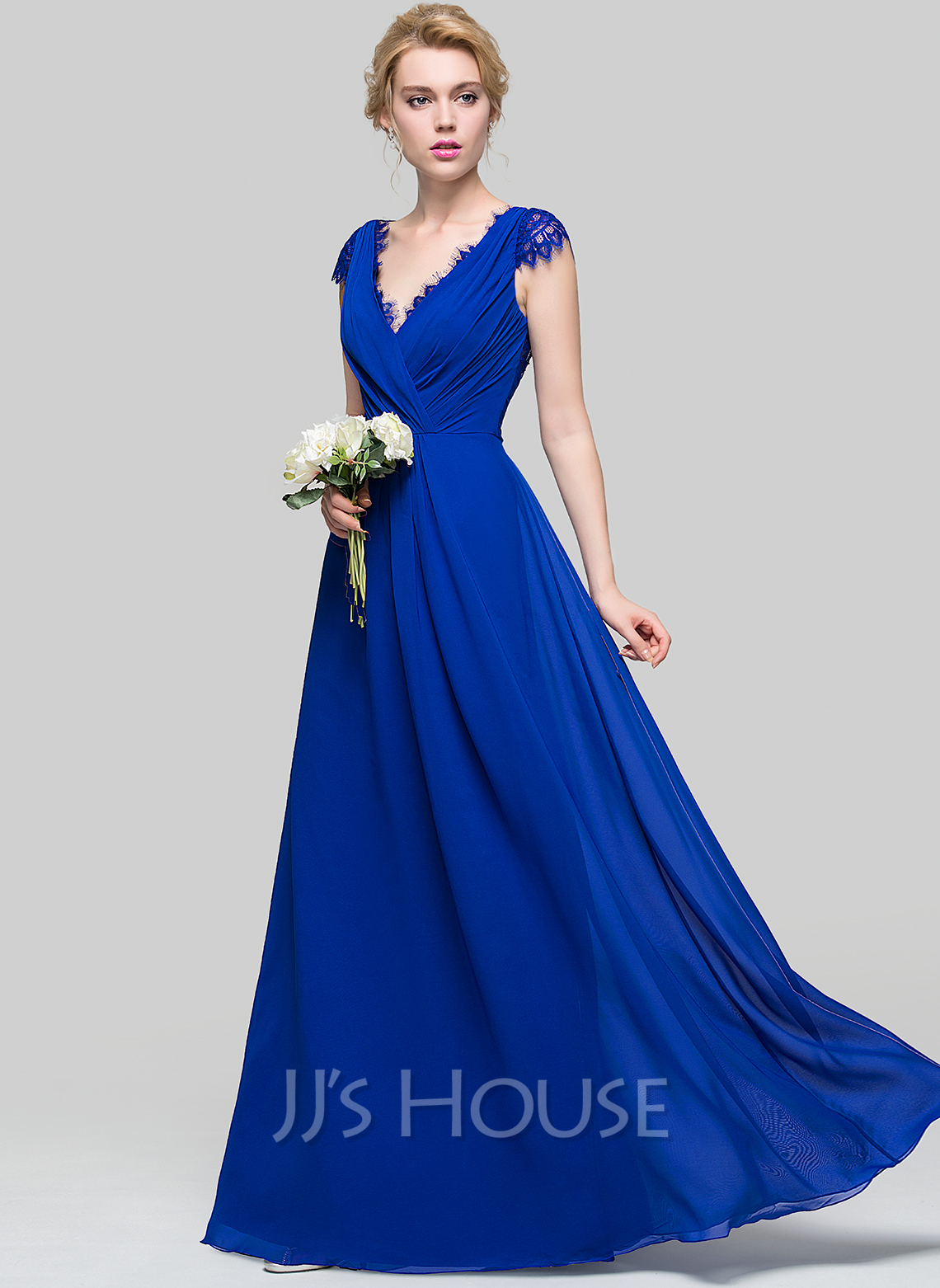 A line princess v neck floor length chiffon bridesmaid for Floor length gowns