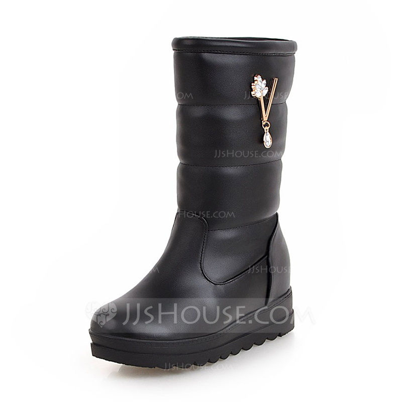 b9ee4a7bab [US$ 43.00] Women's Leatherette Low Heel Closed Toe Boots Mid-Calf Boots  Snow Boots With Rhinestone shoes - JJ's House