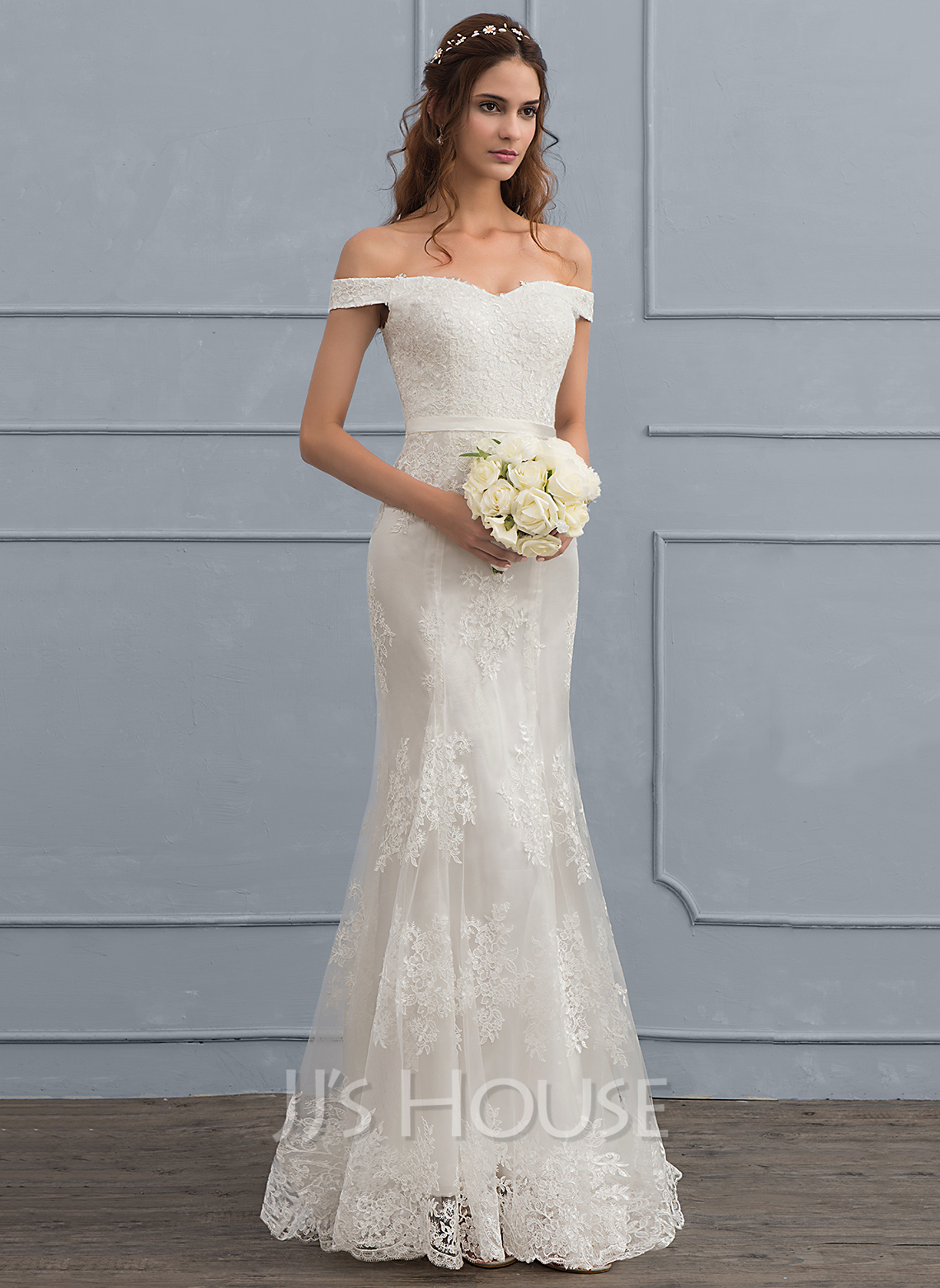 Trumpetmermaid Offtheshoulder Sweep Train Tulle Lace Wedding Dress With Sequins Loading Zoom: Tea Length Mermaid Trumpet Wedding Dresses At Websimilar.org