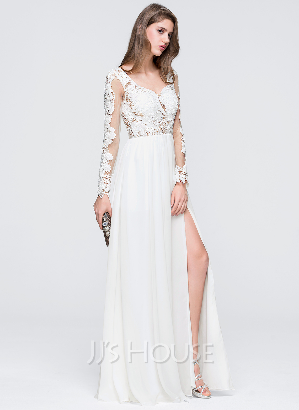 Sweetheart Floor-Length Chiffon Wedding Dress With Split Front