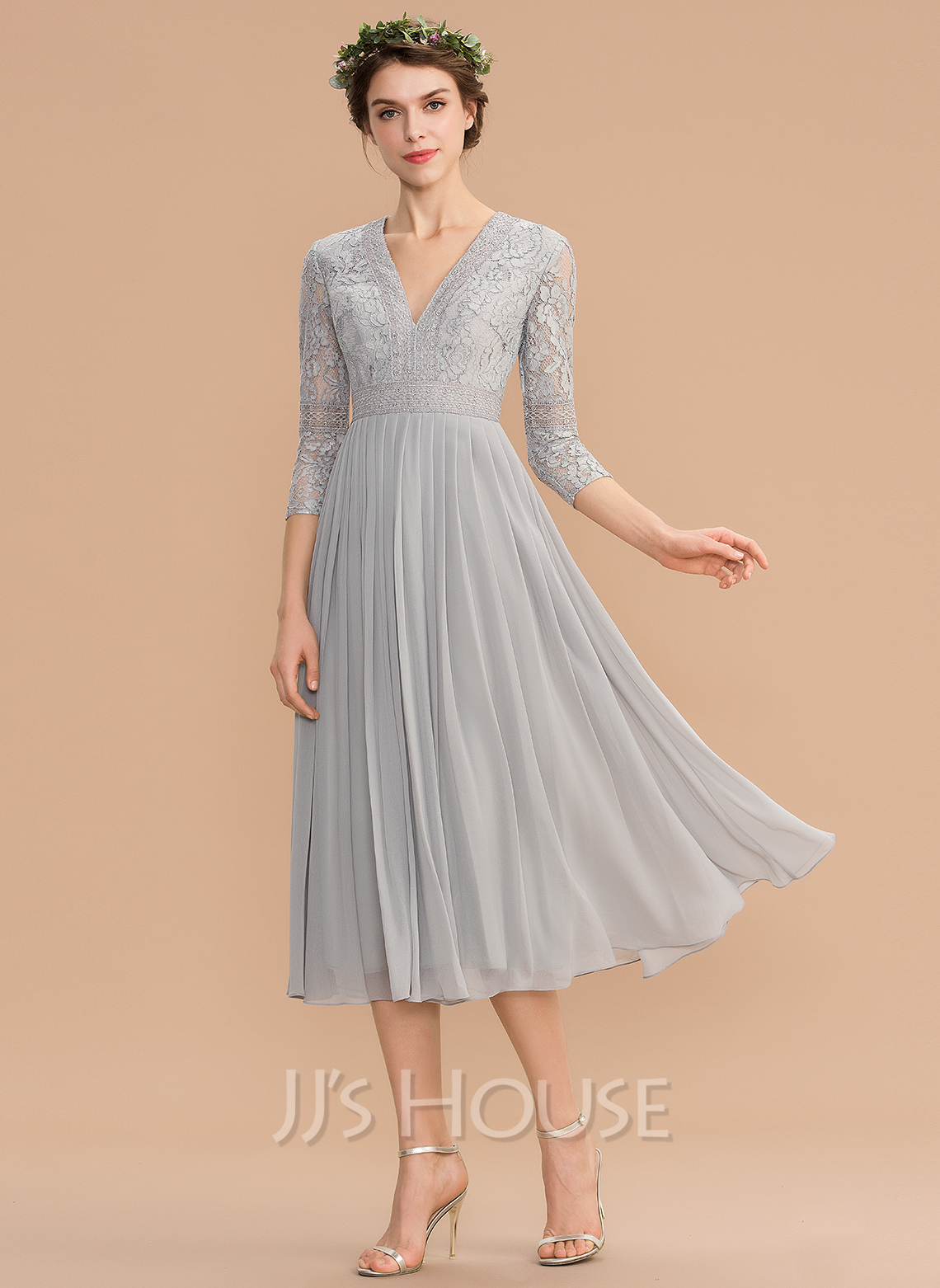 1bff1aaf54f2 A-Line V-neck Tea-Length Chiffon Lace Bridesmaid Dress With Pleated.  Loading zoom