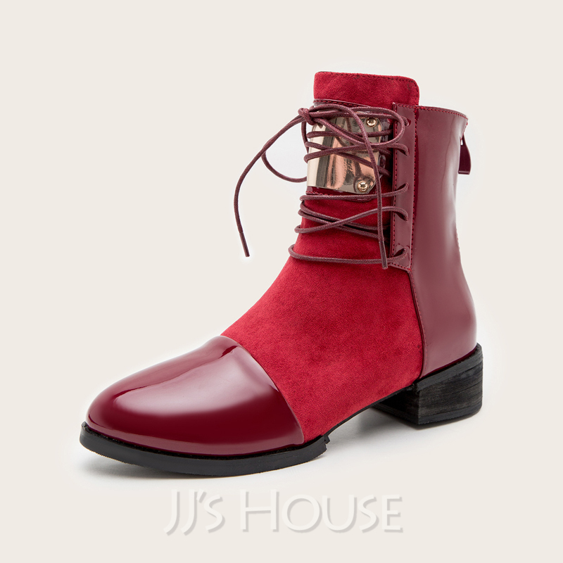 Women's Suede Leatherette Chunky Heel Ankle Boots Pointed Toe With Zipper Lace-up Splice Color shoes