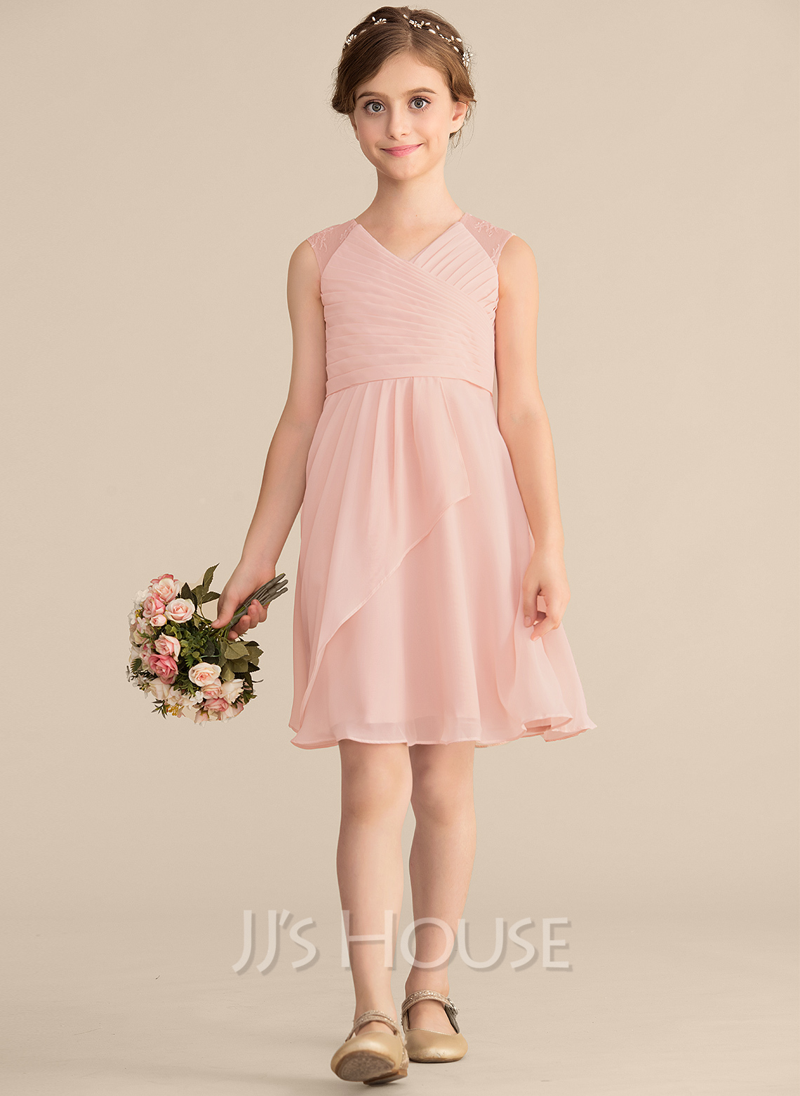 b563ad09a2e25 A-Line/Princess V-neck Knee-Length Chiffon Lace Junior Bridesmaid Dress.  Loading zoom