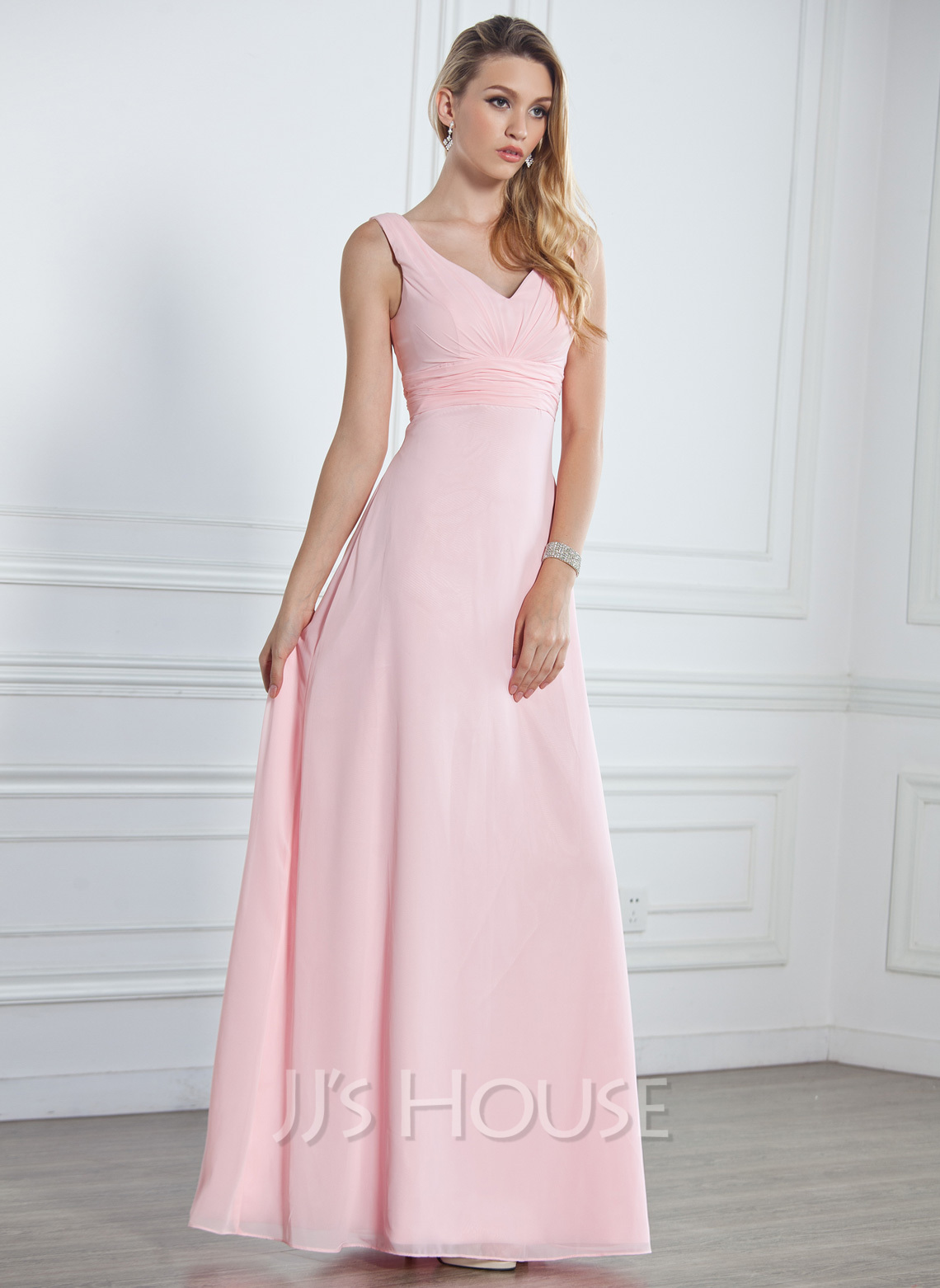 Empire V-neck Floor-Length Chiffon Bridesmaid Dress