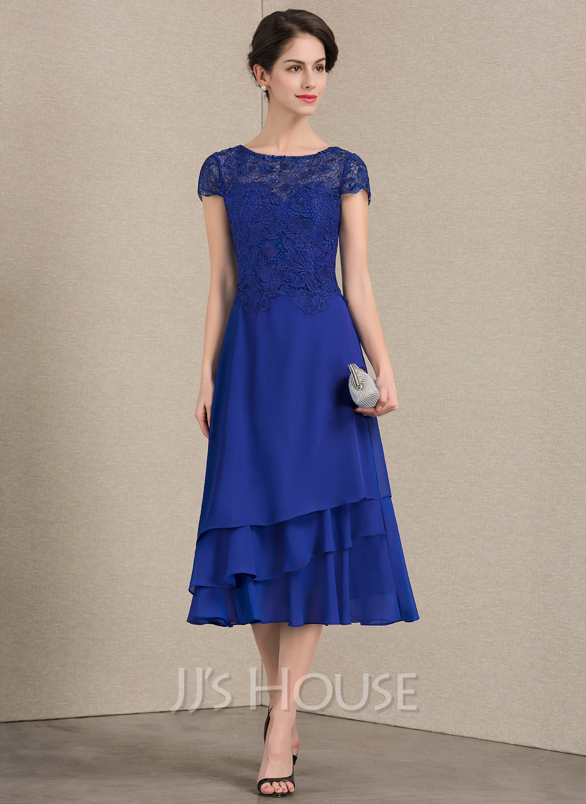 A Line Princess Scoop Neck Tea Length Chiffon Lace Mother