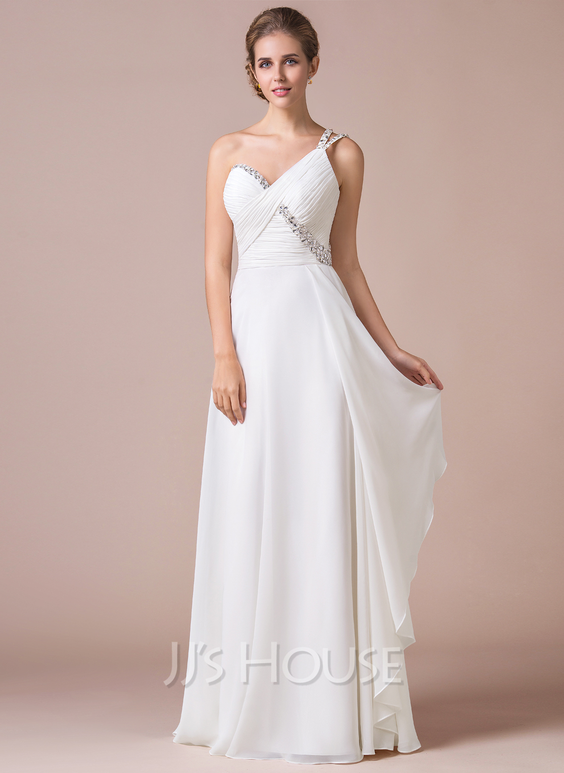 One-Shoulder Floor-Length Chiffon Prom Dresses With Ruffle Beading Sequins