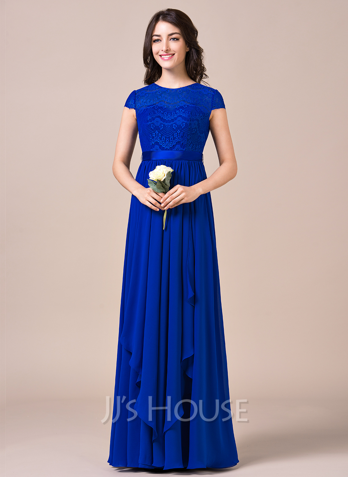 Scoop Neck Floor-Length Chiffon Lace Bridesmaid Dress With Bow(s) Cascading Ruffles